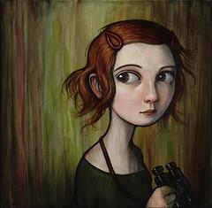 """Keep Watch"" (verpabunny) Tags: original girl painting acrylic redhead binoculars barette kellyvivanco infinitysquared distinctiongallery"