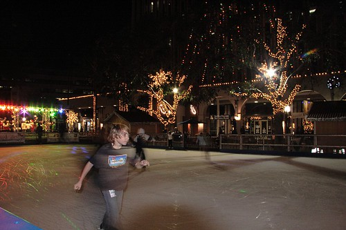Ice rink on the pedestrian mall downtown Riverside
