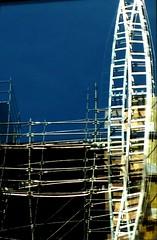 Crazy Ladders (photo_generator) Tags: city urban usa distortion reflection building art wisconsin construction milwaukee scaffold ladder
