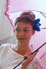 Large turquoise kanzashi fascinator (cuttlefishlove) Tags: pink wedding flower umbrella japanese handmade traditional silk craft fabric parasol handcrafted bridal folding weddingoutfit hairaccessories hairclip kanzashi hairaccessory japanesecraft fascinator hairornament weddingwear