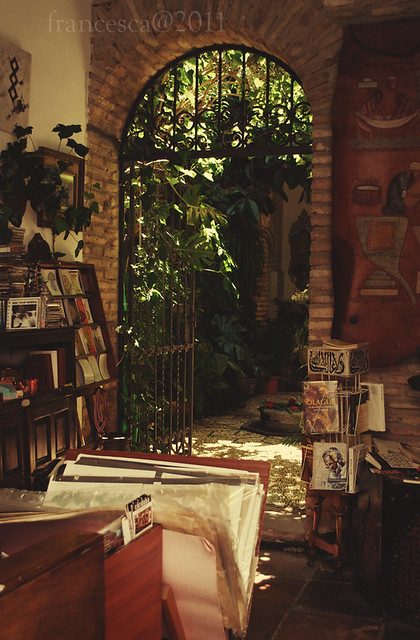 Patio inside a bookshop