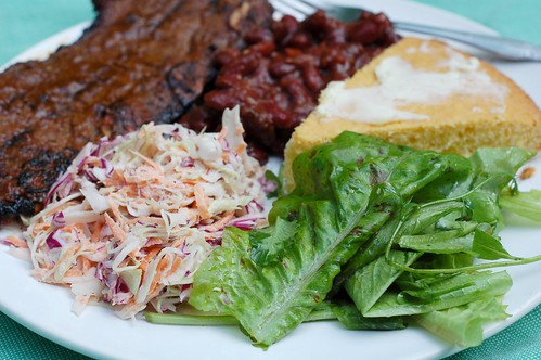 July 4th Feast - grilled short ribs, BBQed beans, coleslaw, cornbread and green salad by Eve Fox, Garden of Eating blog, copyright 2011