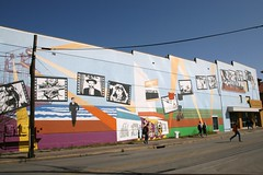 full view of mural on former varsity theater