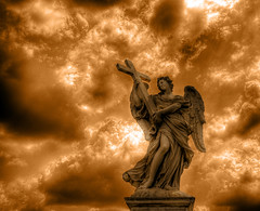 Angel (Amundn) Tags: bridge italy vatican rome roma statue sepia angel clouds wings nikon cross d70 interestingness1 dramatic inferno hdr fiery fireinthesky apocalyptic castelsantangelo toning 3xp cotcmostinteresting cotcmostfavorited
