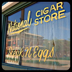 National Cigar Store (ilovecoffeeyesido) Tags: reflection window glass sign picnik paintedsign steakneggs ftwaynein nationalcigarstore