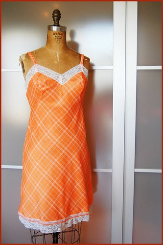 vintage orange plaid slip