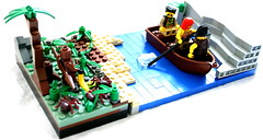 Pirate Diorama 01 (Austin__S) Tags: river boat lego scout banana jungle pirate minifig tribe snot minifigure tribesman