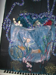 fishy collage felt (shemacgo) Tags: uk blue fish seaweed wet felted felting handmade creative craft felt cobweb fibre wetfelt craftanddesign 10millionphotos