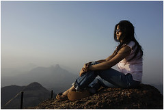 lost in self, matheran (nevil zaveri) Tags: travel portrait woman india mountains tourism sunglasses photography blog women photographer photos dusk stock goggles images tourist photographs photograph western leisure maharashtra myfamily zaveri slippers matheran stockimages ghats travelogue nevil peopleandplaces theverybestofme nevilzaveri