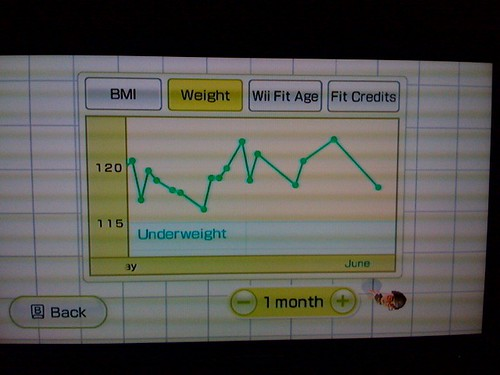 Wii Fit results one month