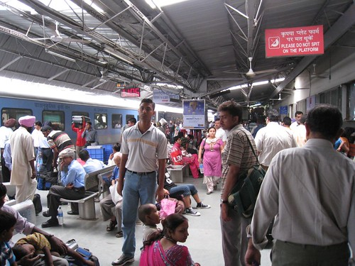 Exiting the train platform in Delhi