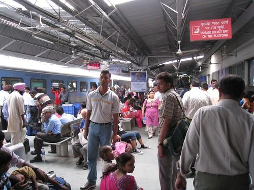 Exiting the train platform in Delhi