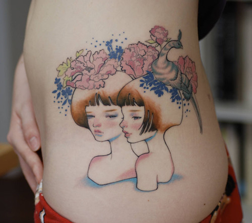 Sexy girls temporary flower tattoo in lower back