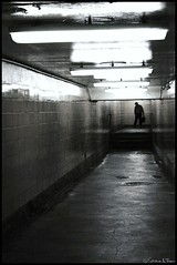Coming To Get Me (Harpo42) Tags: shadow blackandwhite man train underground subway tile lights trapped scary threatening menacing corridor dirty follow hallway creepy flourescent figure nervous stalk patco claustrophobic lurking speedline drpa