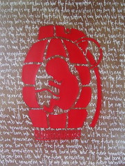 explosive bith - canvas (asboluv) Tags: childhood stencil canvas cardboard freeart asbo afrogirl asboluv explosivebirth nevertakeyourselftoseriously phatcanofluv yakastraponcan