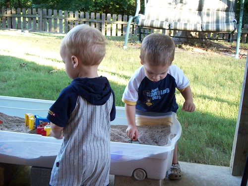 Playing in Grammy's sand table