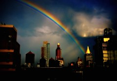 fairy tale (mudpig) Tags: nyc newyorkcity cloud ny newyork storm tower water rain skyline dark geotagged gold rainbow soft cityscape manhattan midtown hdr mudpig stevekelley