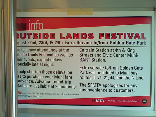 OutsideLands Festival Concert - Muni Info (Really Bad Info)