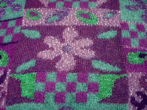 fine mohair intarsia knit closeup