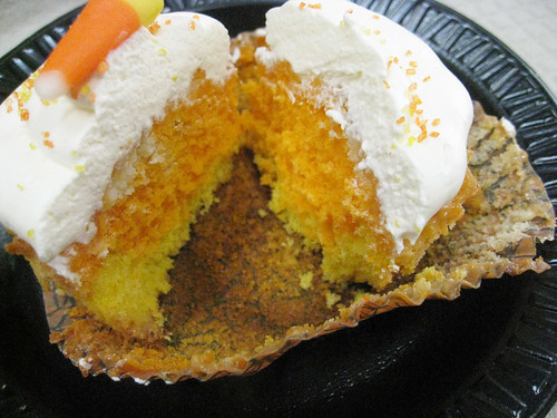 Inside the Candy Corn Cupcake by Cup O'Cake Designs.