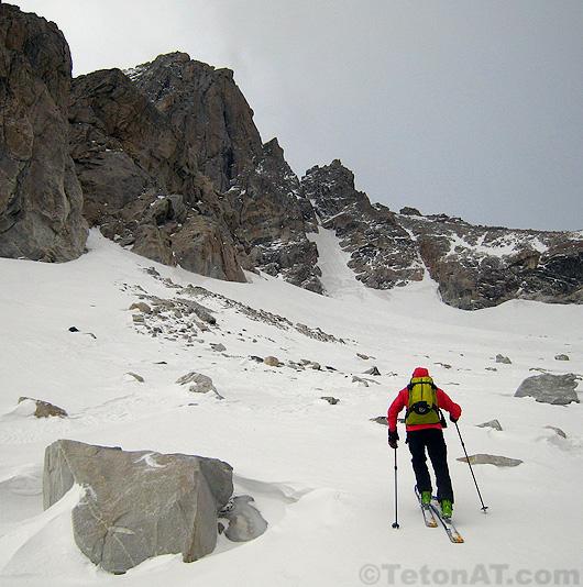 steve romeo skins toward the middle teton glacier