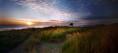 Sunset at the cape, 60 seconds (Zeb Andrews) Tags: ocean sunset color film oregon coast pano horizon panoramic fujireala pinhole pacificocean shore pacificnorthwest haystackrock pacificcity capekiwanda beachgrass pinscape bluemooncamera zebandrews zebandrewsphotography