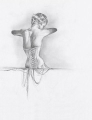 from horst's mainbocher corset (francesalexandra) Tags: art pencil hair drawing madonna corset horst higher graphite threads advanced mainbocher