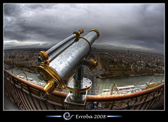 Take a look, Eiffel tower, Paris, France :: Fisheye :: HDR (Erroba) Tags: city paris france metal seine photoshop canon fence river rebel respect belgium god faith tripod religion eiffeltower sigma fisheye telescope chrome tips copper remote railing bp erlend hdr cs3 10mm 3xp photomatix tonemapped tonemapping xti 400d infinestyle goldstaraward erroba robaye erlendrobaye takecareandhavealoooongsleep baladesparisiennes