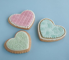 More cookies (cakejournal) Tags: pink green cookies hearts cookie teal decorate sugarcookies embossing mmf embossedcookies