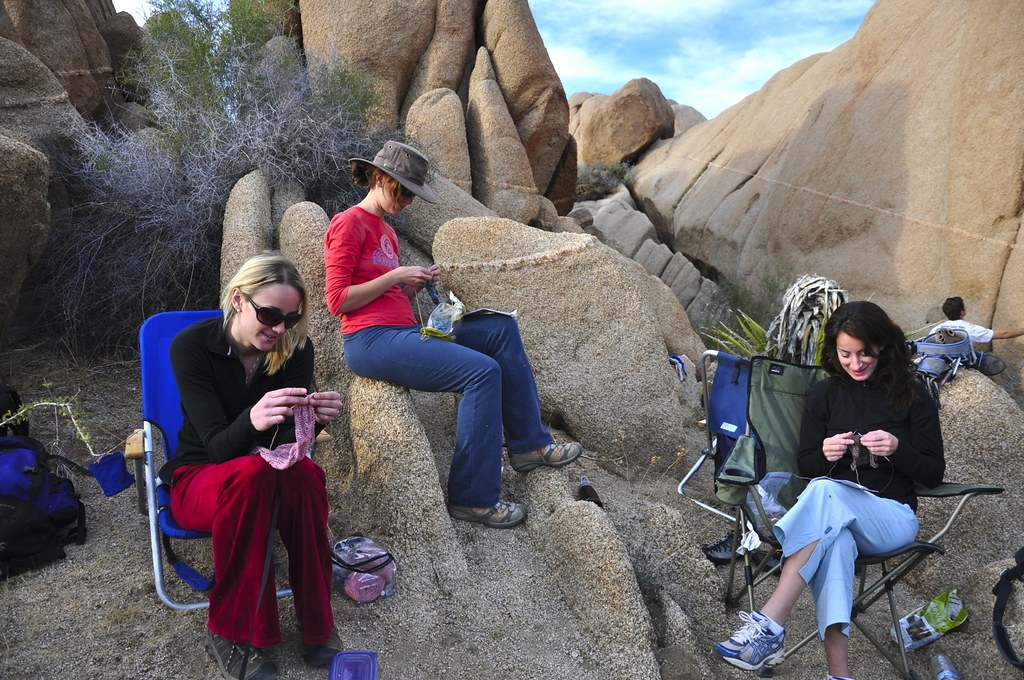 Girls Knitting in the Wild.
