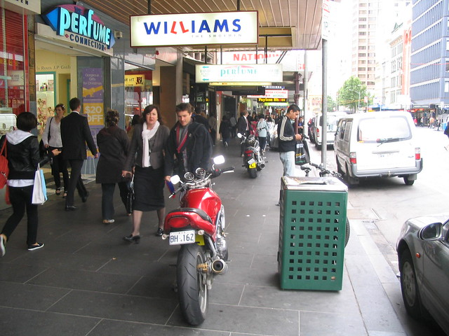 Motorcycles parked in Elizabeth Street