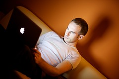 Self (h.andras_xms) Tags: light shadow portrait orange apple night self work notebook glow laptop screen pro 1ds markiii macbook blackmacbook handras