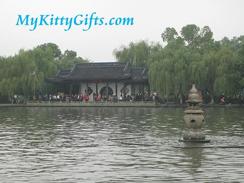 Hello Kitty's View of 'Three Pools Mirroring the Moon' - one of the ten scenes of West Lake, HangZhou