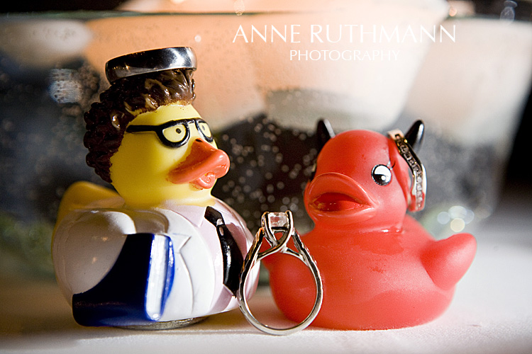The Scientist and the Red Devil Duck Wedding Rings