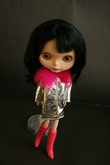 Maya with  Blythe Chic Furlicious Silver Leather Coat