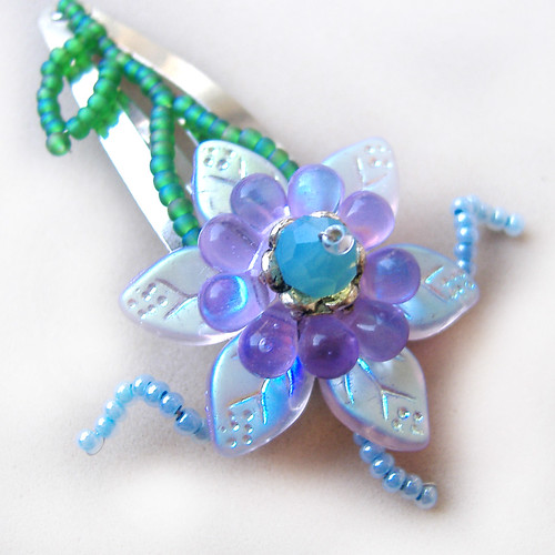 Unique Beaded Flower Hair Clip Made with Czech beads and Swarovski crystals