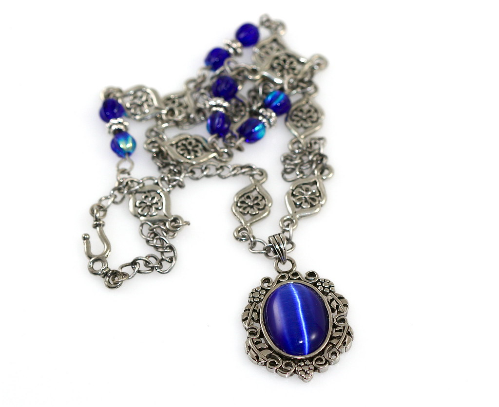 Blue Cats Eye Pendant Necklace