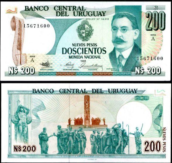 200 Nových Pesos Uruguay 1986, P66