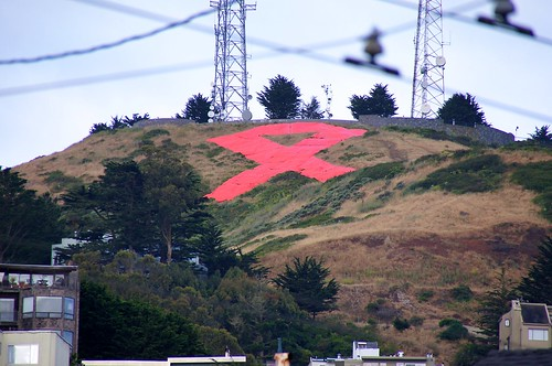 red ribbon on Twin Peaks to commemorate this 30th year of fighting AIDS
