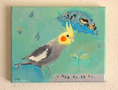 Happy rainy day (YokosGallery) Tags: portrait pets art rain birds collage glitter umbrella silver painting paper acrylic turquoise parrot canvas cockatiel etsy cloth yokosgallery