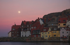 Moonrise over Whitby harbour (DarkMyson) Tags: moon harbour moonrise whitby northyorkshire