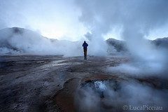 The smoke man (LucaPicciau) Tags: chile morning man cold southamerica america dawn volcano smoke steam gas uomo lp atacama andes geyser altopiano cile wanderings vulcano rambling eltatio fumo tatio ande geysers fumarole lupi vapore vulcanico picciau lucapicciau altipano