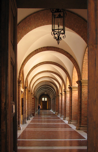 Through the cloister door