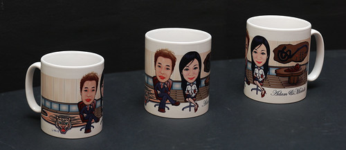 caricatures on mug