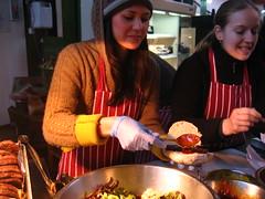 Serving venision sausage