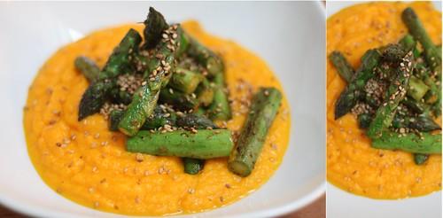 Mousseline de carottes & asperges grillées