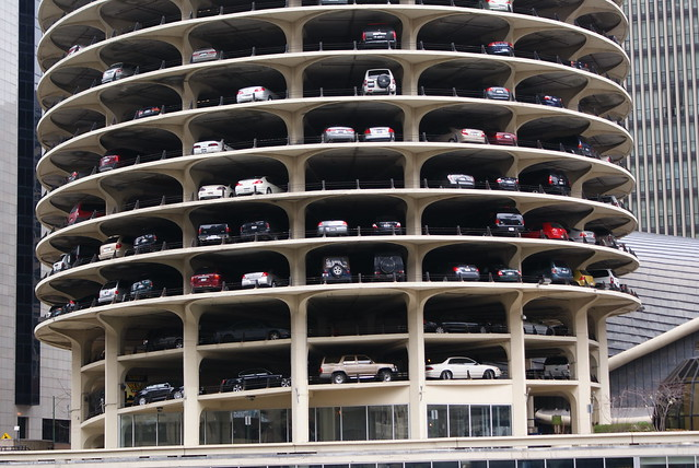 Parking levels. Marina City Tower Chicago