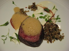 Charlie Trotter's: Millbrook farm venison loin with toasted buckwheat, cumin and sheep's milk ricotta (close up)