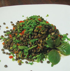 Lentils cooked with sesonal herbs, Tianzi Tea House