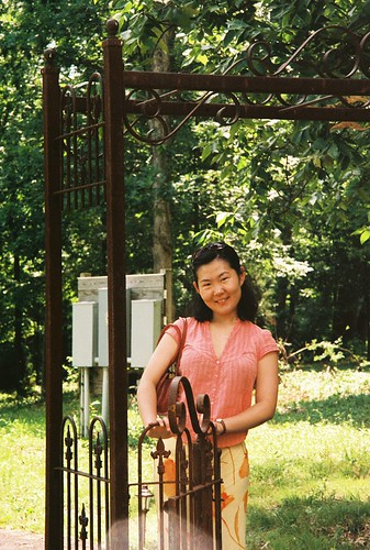 Sha and gate at Cave Ridge winery
